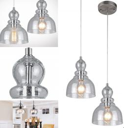 NEW Industrial Pendant Light Fixture Seeded Glass Kitchen Is