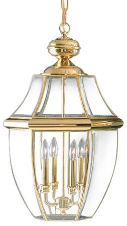 Quoizel NY1180B Newbury 4-Light Outdoor Hanging Lantern, Pol