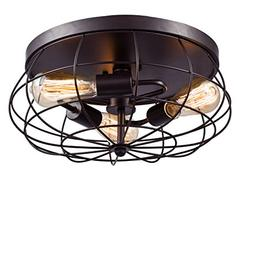 YOBO Lighting Oil Rubbed Bronze Flush Mount Ceiling Light, 3