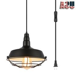 Pendant Light with Plug in Switch Hanging Lamp,Metal Cage