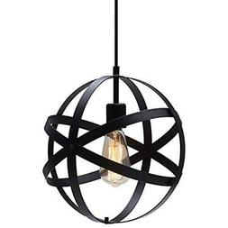 KingSo Pendant Lights Industrial Metal Light, Spherical Blac