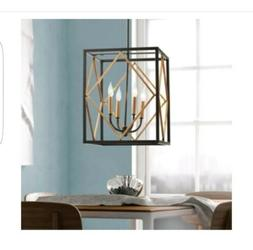 Quoizel Platform 4 Light Pendant Black w/ Gold Finish-NEW