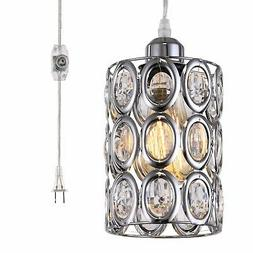 plug in hanging pendant light fixture crystal