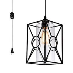 HMVPL Plug-in Pendant Lights with Glass Lamp-Shade, 16.4 ft