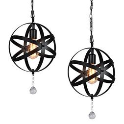 HMVPL Plug-In Industrial Globe Pendant Lights with 15 Ft Han