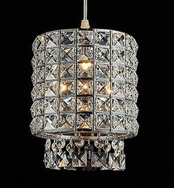 Plug-in Modern Crystal Chandelier Drop Pendant Lights with O