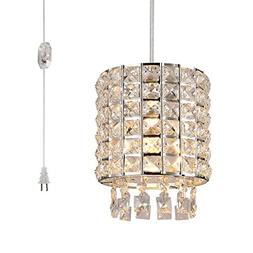 Plug in Modern Crystal Chandelier Swag Pendant Light with Cl
