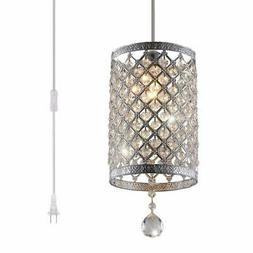 Surpars House Plug in Pendant Light Silver Crystal Chandelie