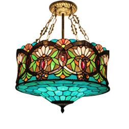 Retro Baroque Stained Glass Ceiling Light Tiffany Style Chan