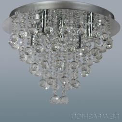 Round Clear Crystal Ceiling Light Contemporary Pendant Chand