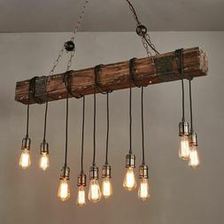 10 Edison Bulb Industrial Rustic Chandelier Farmhouse Wood I