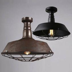 Rustic Industrial Barn Cage Ceiling Light Semi Flush Mount P