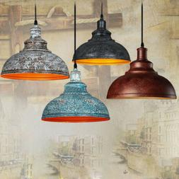 Rustic Industrial Barn Style Pendant Light Aged Metal Shade