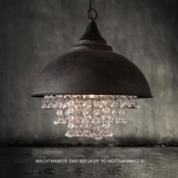 Rustic Industrial Crystal Pendant Light Loft Vintage Chandel