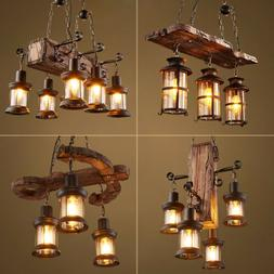 Rustic Industrial Pendant Light Vintage Farmhouse Wood Chand