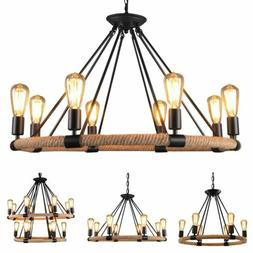 Rustic Iron Rope Chandelier Candle Pendant Light Lamp Ceilin