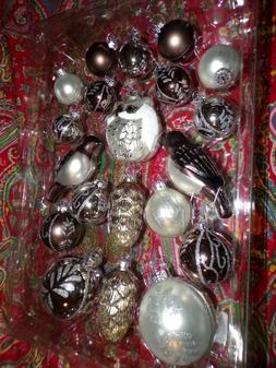 POTTERY BARN SILVER CRITTER ORNAMENTS SET, NEW, SET OF 20 OR