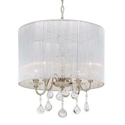 St. Lorynne 4-Light Polished Nickel Pendant with Silver Stri
