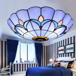 Stained Glass Ceiling Flush Mount Light Dining Room Pendant
