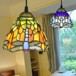 stained glass tiffany style hanging pendant lamp