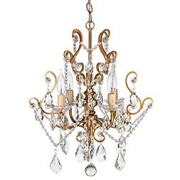 Theresa Vintage Gold Crystal Chandelier, Mini Plug-In Swag G