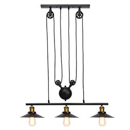 KingSo Three-Light Indoor Island Pulley Pendant, Black Hangi