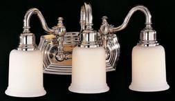 Three Light Polished Nickel Opal White Etched Glass Vanity V