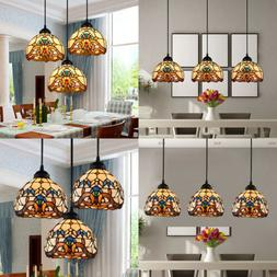 Tiffany Baroque Stained Glass 3-Light Hanging Pendant Light
