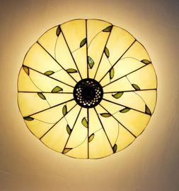 Tiffany Country Style Flush Mount Ceiling Lamp Stained Glass