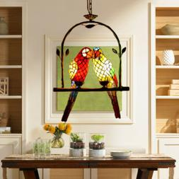 Tiffany Pendant Light Stained Glass 2 Parrots Chandelier Han
