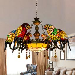 tiffany pendant light stained glass 6 parrots