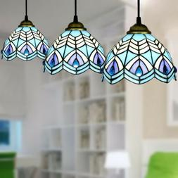 Tiffany Style Blue Peacock Stained Glass Pendant Light Bar H