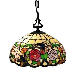 Tiffany Style Hanging Pendant Lamp Stained Glass Rose Theme