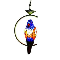 Tiffany Stained Glass Parrot Ceiling Light Chandelier Loft P