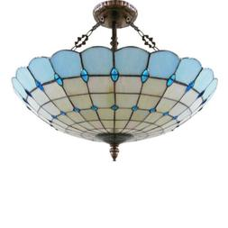 Tiffany Style Stained Glass 3 Light Inverted Ceiling Pendant