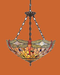 Tiffany Style Stained Glass Dragonfly Hanging Ceiling Pendan