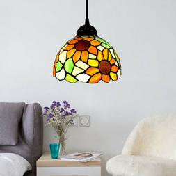 Tiffany Sunflower Stained Glass Shade Pendant Light Ceiling