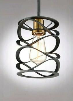Quoizel Unity One Light Mini Pendant Mottled Black with Gold