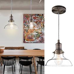 Donglaimei Vintage Clear Glass Pendant Light, Edison Industr