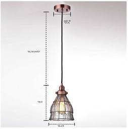YOBO Lighting Vintage Cracked Glass Wire Cage Hanging Pendan
