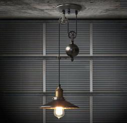 Industrial Rustic Pulley Pendant Light 1 Light Black Iron Ce