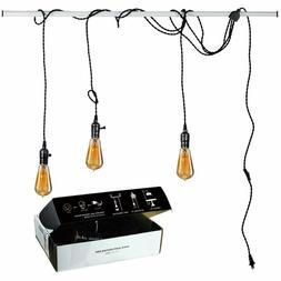 Judy Lighting - 3 Light Vintage Pendant Light Kit Plug in Ha