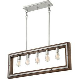 Quoizel Westerly Brushed Nickel and Wood Five-Light Linear P