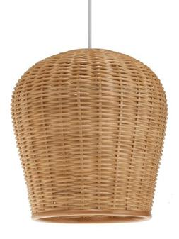 "KOUBOO 1050032 Wicker Pod Pendant Light, 11.5"" x 11.5"" x 12."