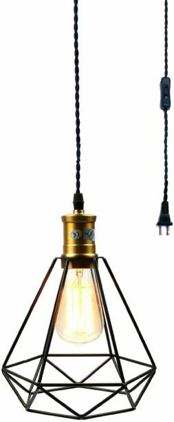 Wire Cage Pendant Light Plug In Vintage Pendant Light with O
