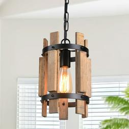 Wood Pendant Light Chandelier Lamp Farmhouse Hanging Ceiling