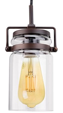 "Revel Wyer 8"" Modern Industrial Mini Glass Jar Pendant Light"