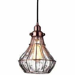 YOBO Pendant Lights Lighting Cracked Glass Vintage Wire Cage