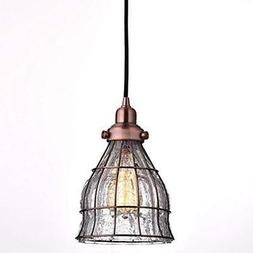YOBO Pendant Lights Lighting Vintage Cracked Glass Wire Cage